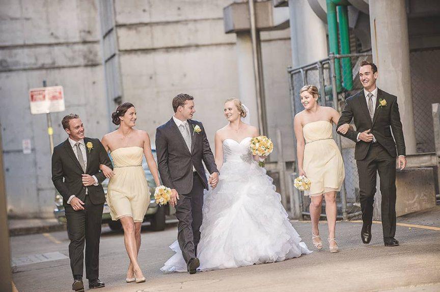 bridal party walking in Brisbane city
