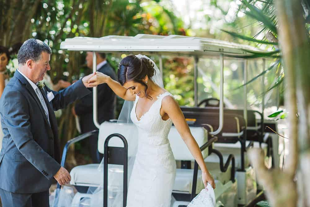 bride and golf cart