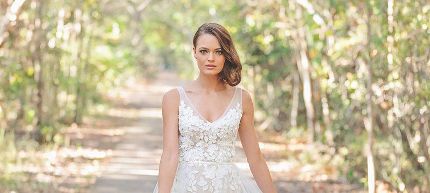 nude-toned dress modern bride
