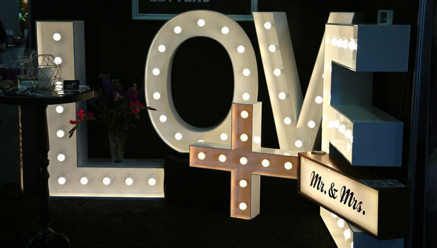 love sign at wedding expo