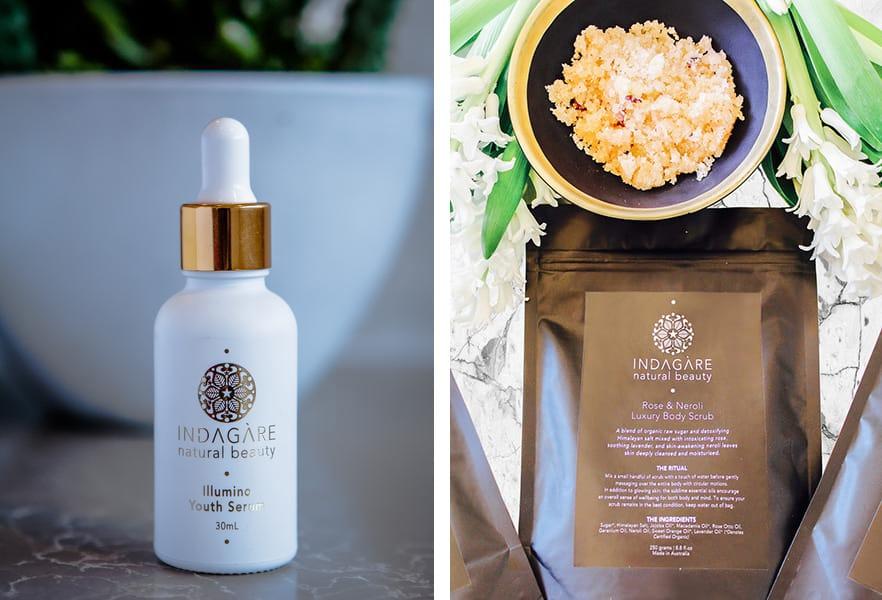 Indagare Illumino Youth Serum and Rose & Neroli Luxury Body Scrub