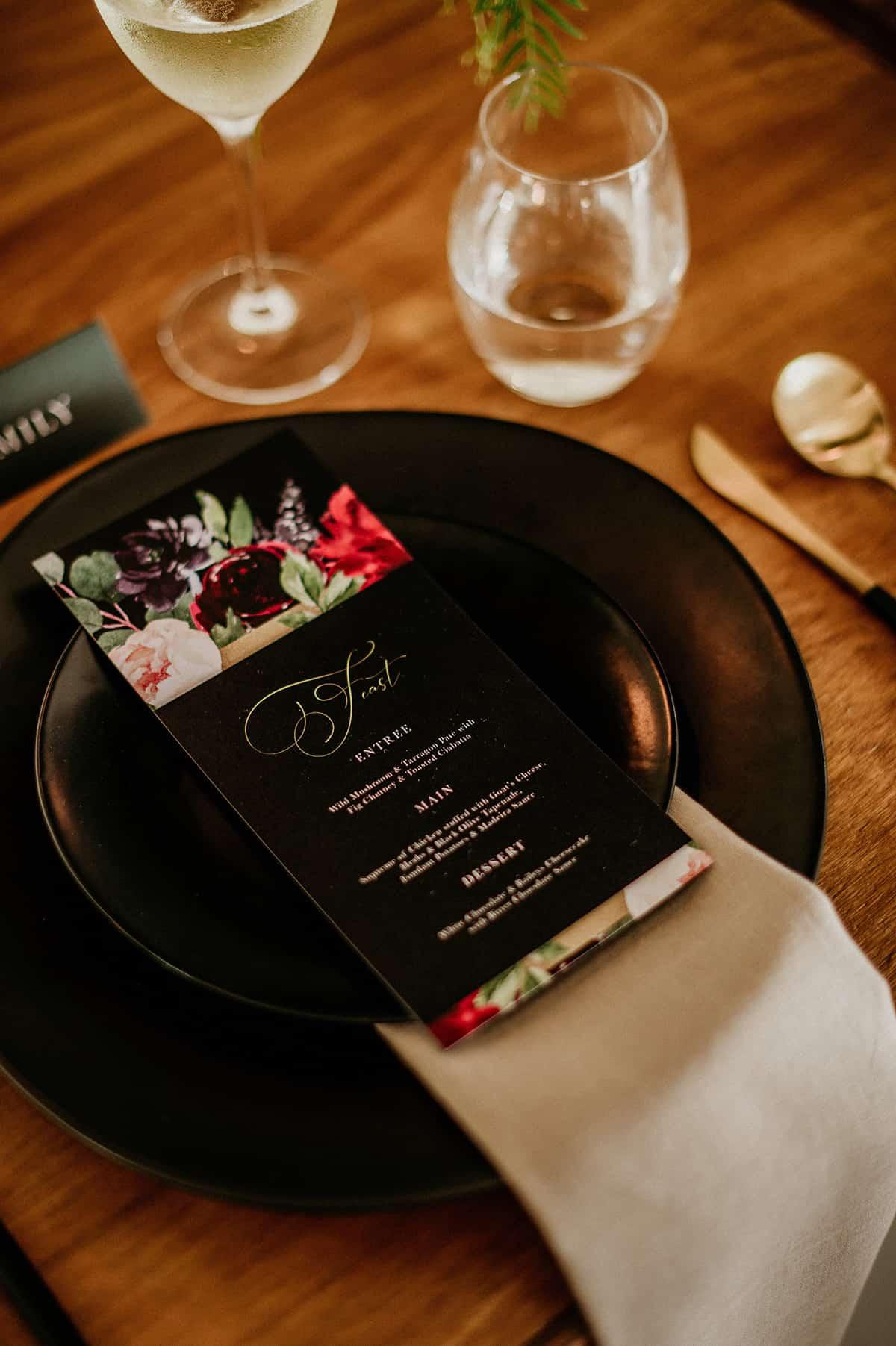 black plates for wedding reception