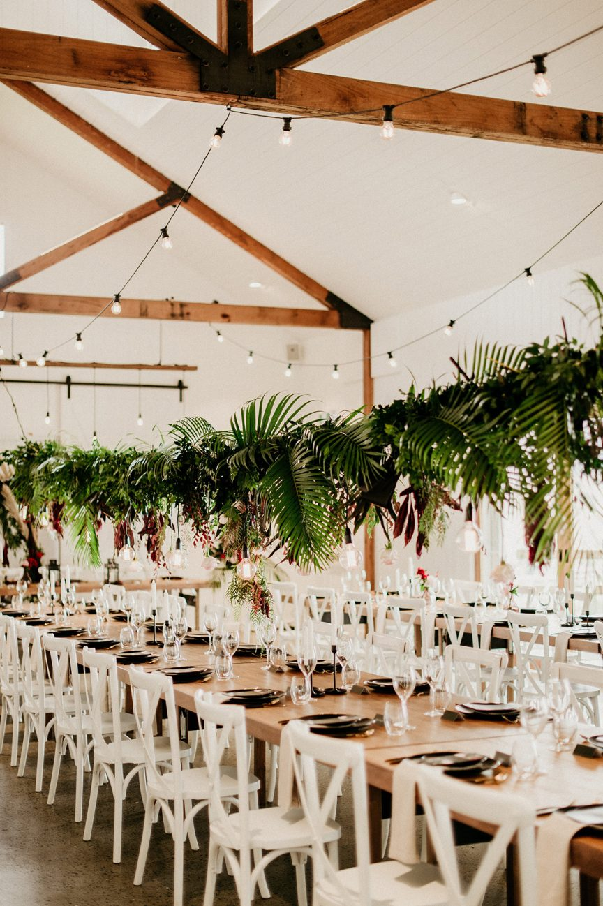 wedding reception setting at Summergrove Estate