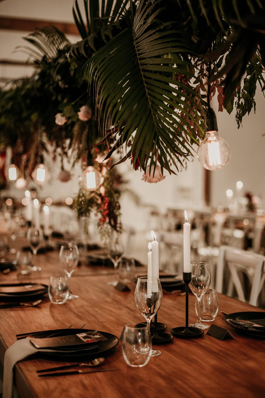 hanging greenery for wedding reception