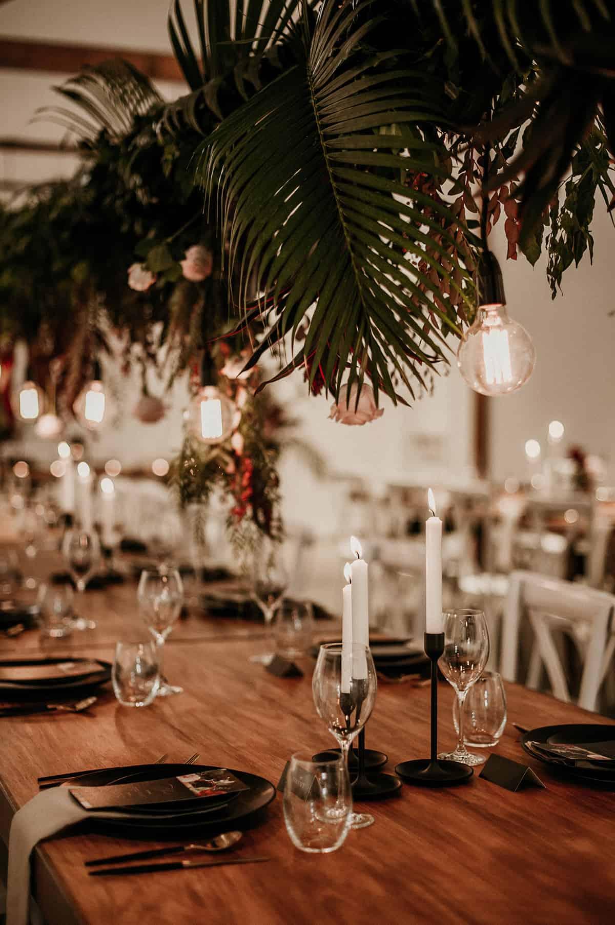 hanging greenery for wedding reception