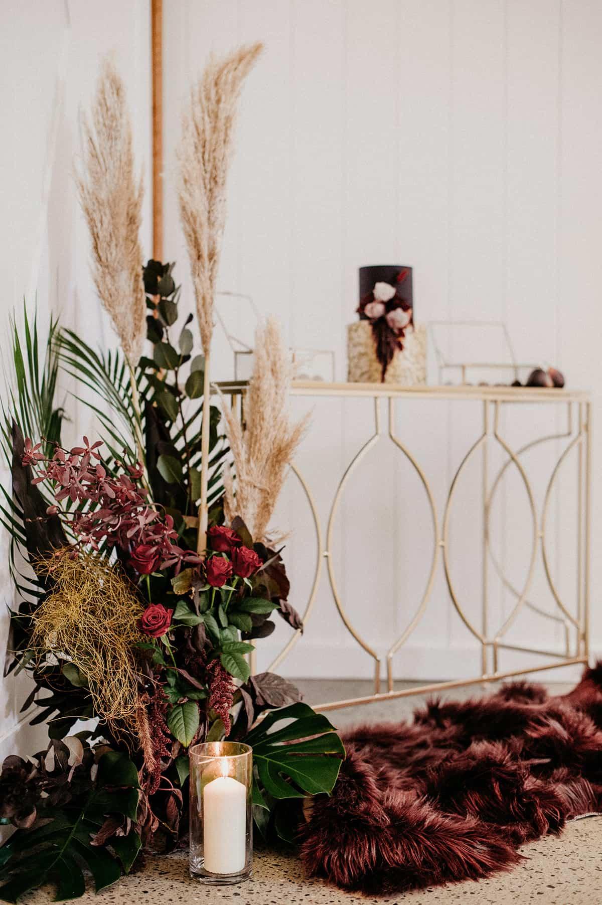 gold decor at wedding reception