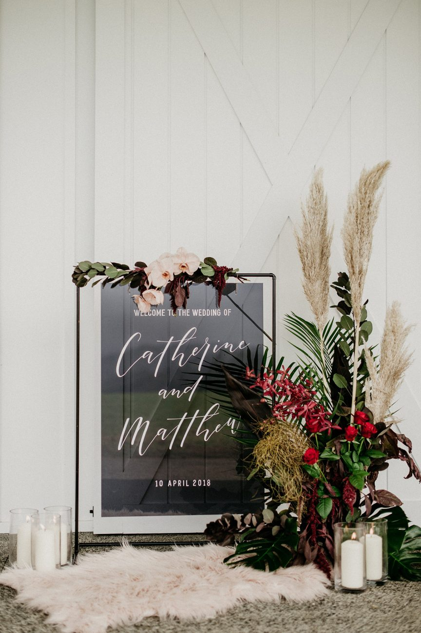 welcome sign at a wedding