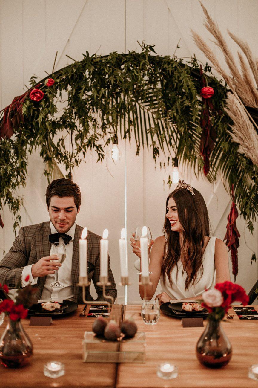 wedding couple at reception