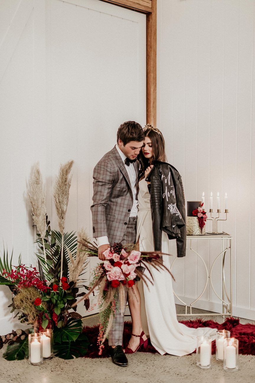 bride with leather jacket