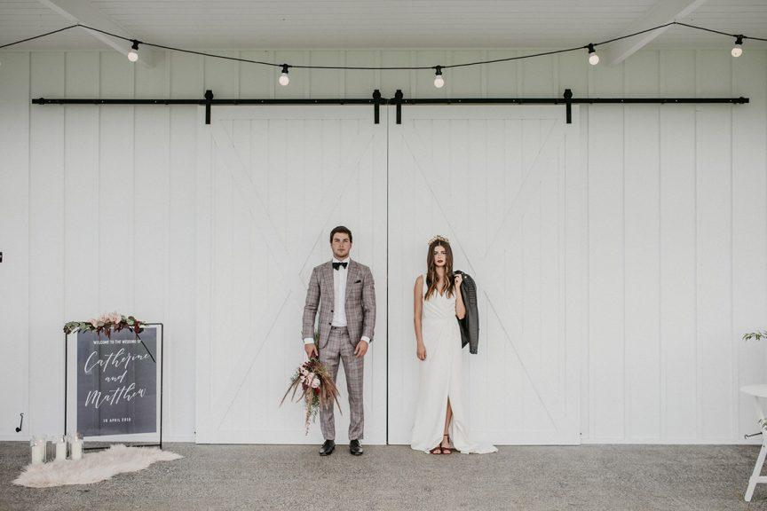 bride and groom at Summergrove barn