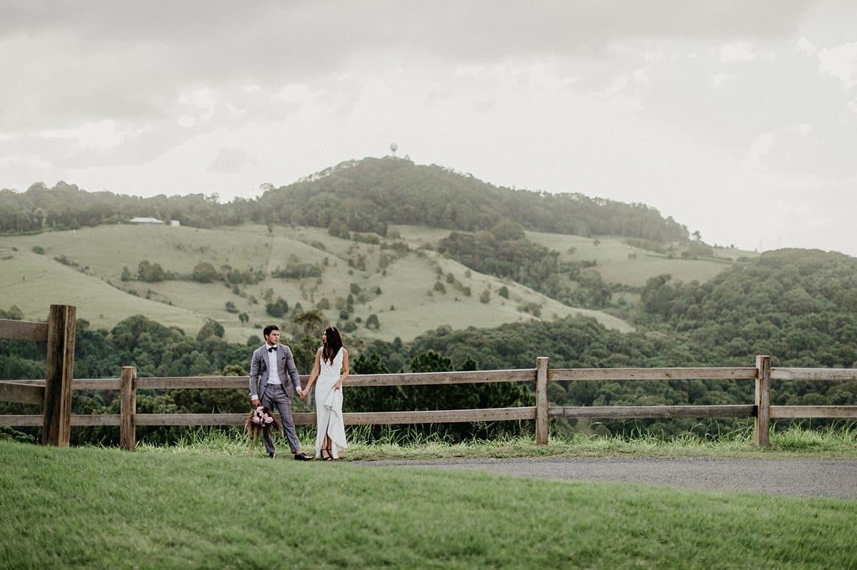 bride and groom walking at Summergrove