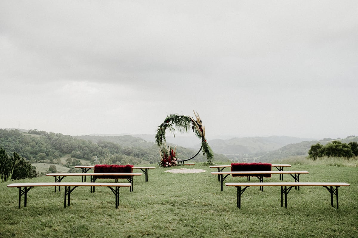 circle wedding arbour for ceremony