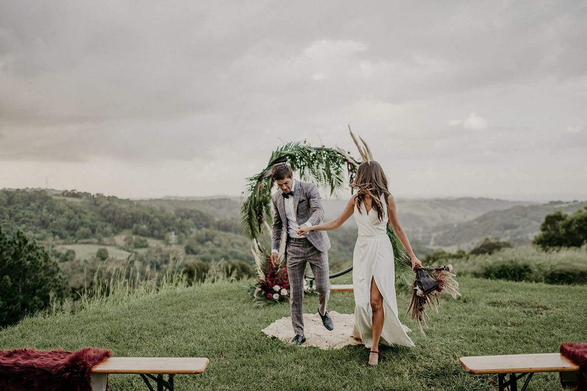 wedding couple at ceremony