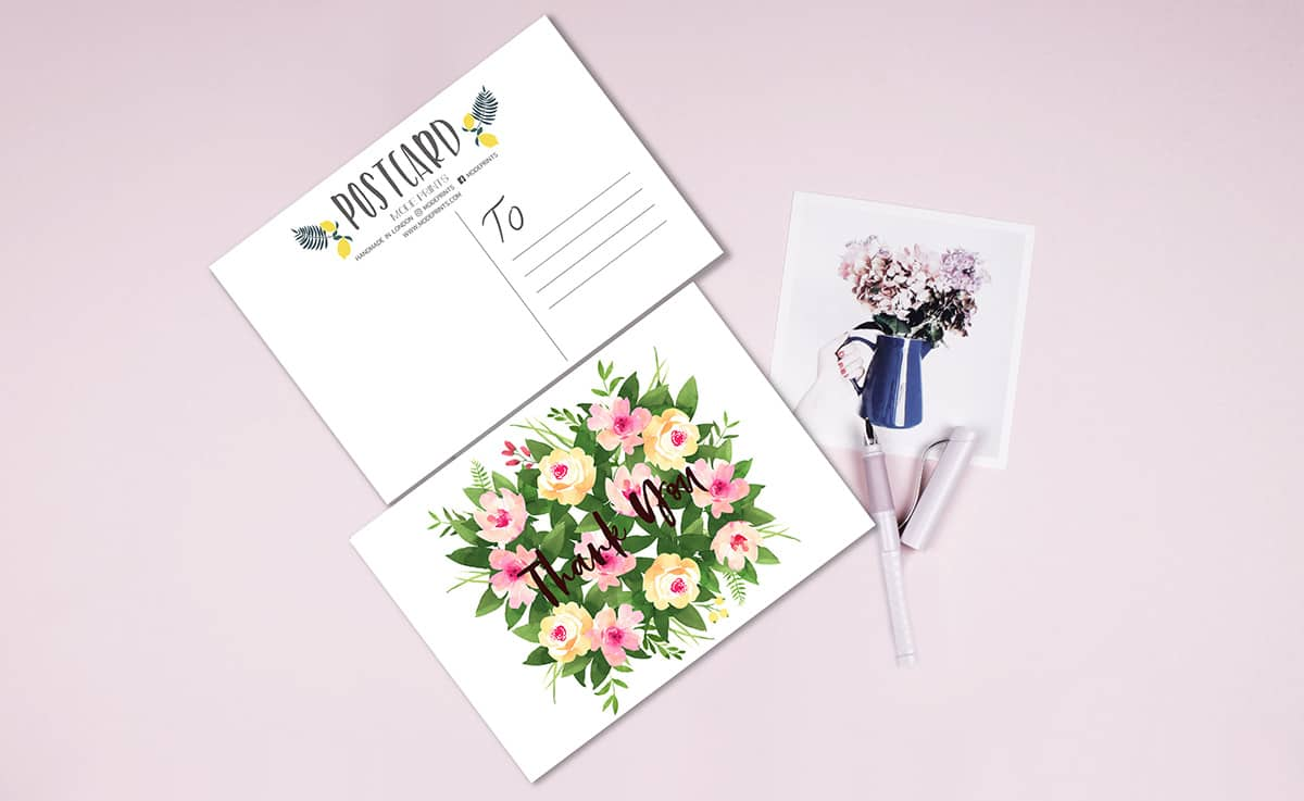 MODE-PRINTS-Set-Of-10-Floral-Thank-You-Cards-Wedding-Postcards-Stationary-Notepaper