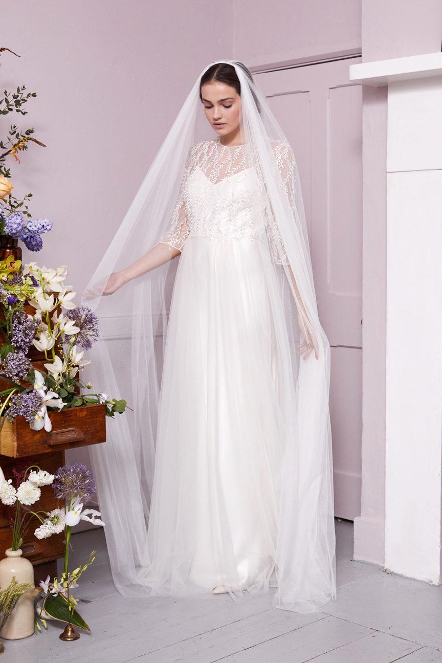 Plain-Tulle-Double-Comb-Veil-&-Polly-Dress-by-Halfpenny-London