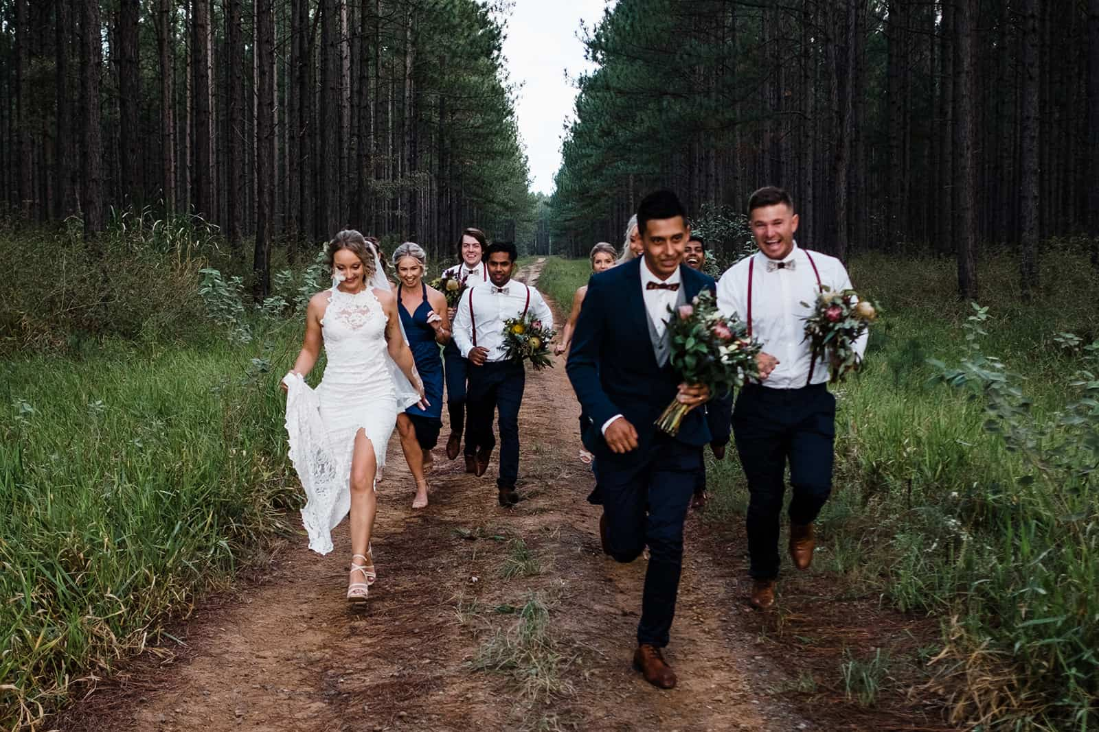 The bridal party in the Sunshine Coast hinterland