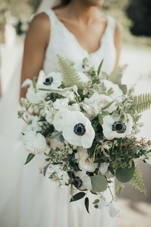 soft and delicate Anemones wedding bouquet
