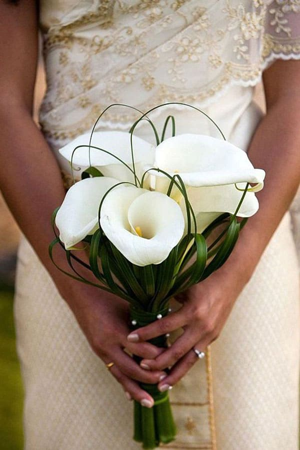 beautiful white Arum lily wedding bouquet