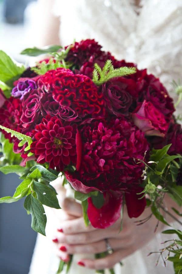 Celocia wedding bouquet winter flowers