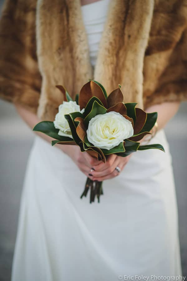 beautiful magnolia flower and leaf bouquet