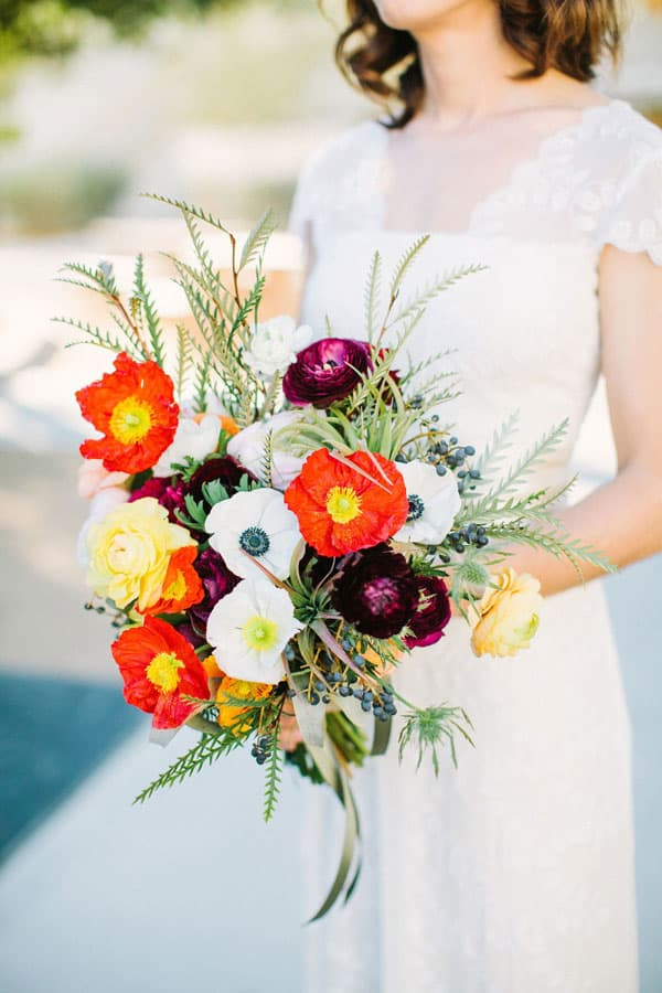 beautiful and colourful poppy wedding bouquet