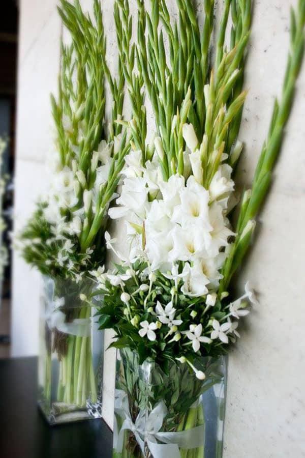 Gladioli winter wedding flowers used as table decor