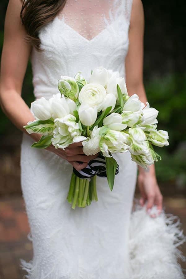 all white tulip wedding bouquet
