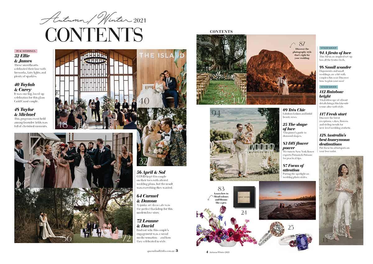 Queensland Brides Autumn Winter 2021 contents